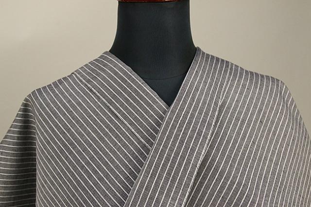 夏のKIPPE(きっぺ) 涼しま よねざわもめん 綿麻 オーダーお仕立て付き 灰 ◆男女兼用◆