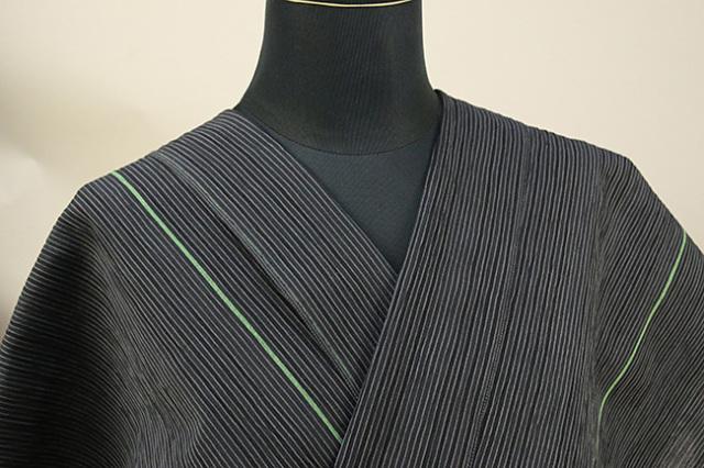 仁伍エ門 綿麻縮 吉新織物 夏物 オーダーお仕立て付き ライン 緑◆男女兼用◆