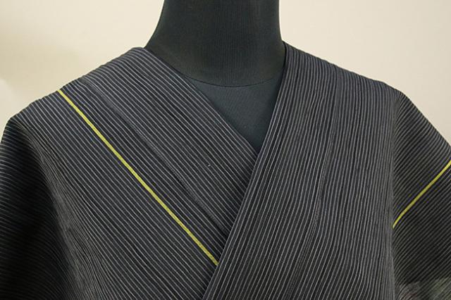 仁伍エ門 綿麻縮 吉新織物 夏物 オーダーお仕立て付き ライン 黄◆男女兼用◆