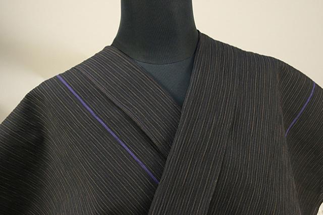 仁伍エ門 綿麻縮 吉新織物 夏物 オーダーお仕立て付き ライン 紫◆男女兼用◆