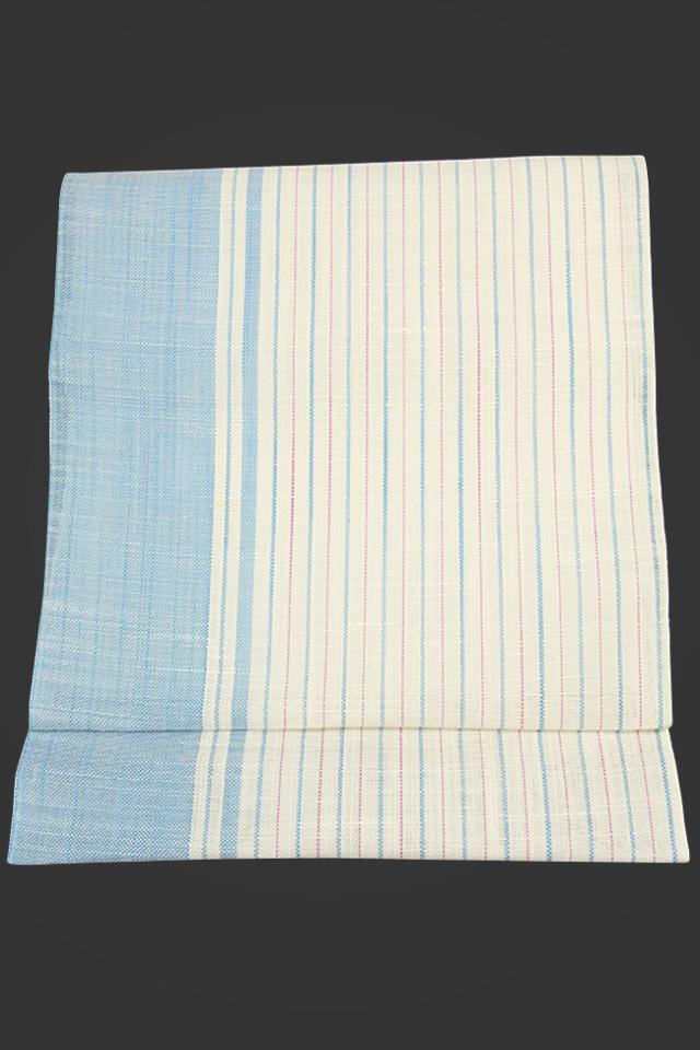 西陣織 七野 夏物 本麻 八寸名古屋帯 ストライプ 白×水色 仕立付き
