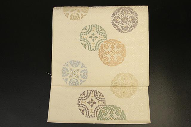 西陣織 唐織 九寸名古屋帯 有職華紋 お仕立て付き 生成り色