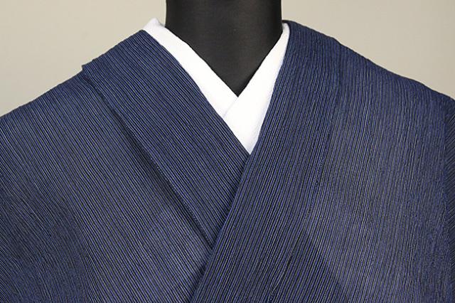 本麻 夏着物 小千谷ちぢみ 杉山織物  楊柳 オーダー仕立て付き 紺黒白極細子持ち縞