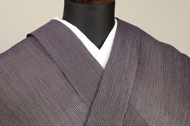 夏着物 小千谷ちぢみ 杉山織物  楊柳 オーダー仕立て付き 紫