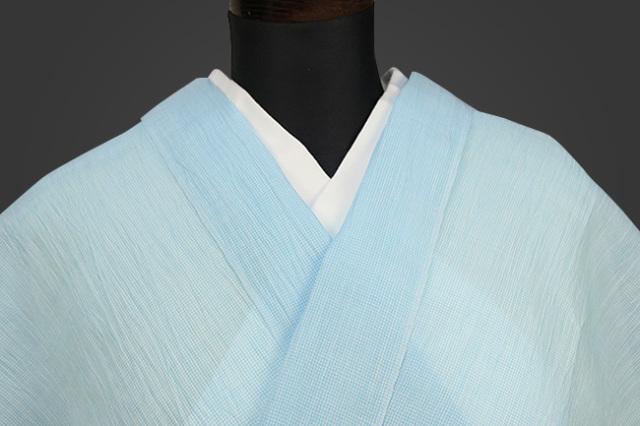 夏着物 小千谷ちぢみ 吉新織物  楊柳 オーダー仕立て付き 水色極小角通し