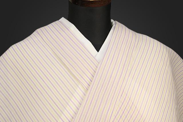 夏着物 小千谷ちぢみ 吉新織物  楊柳 オーダー仕立て付き ストライプ 紫×黄