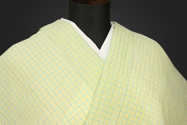 夏着物 小千谷ちぢみ 吉新織物  楊柳 オーダー仕立て付き 格子 緑×黄