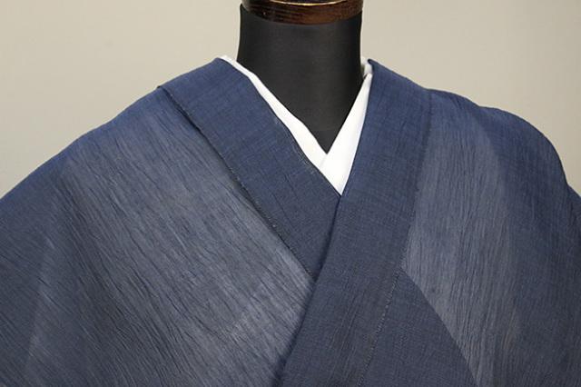 夏着物 小千谷ちぢみ 吉新織物  楊柳 オーダー仕立て付き 紺