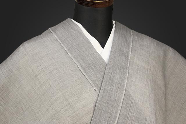 夏着物 小千谷ちぢみ 吉新織物  楊柳 オーダー仕立て付き 薄灰