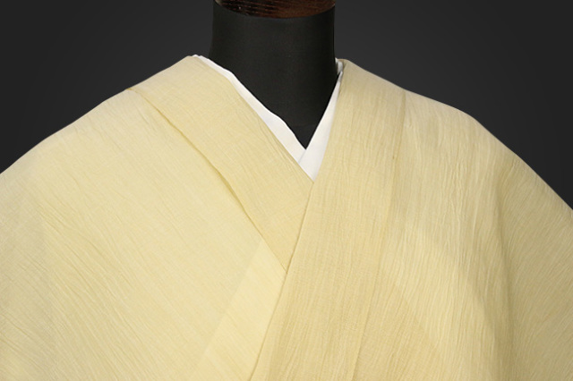 夏着物 小千谷ちぢみ 吉新織物  楊柳 オーダー仕立て付き 黄色