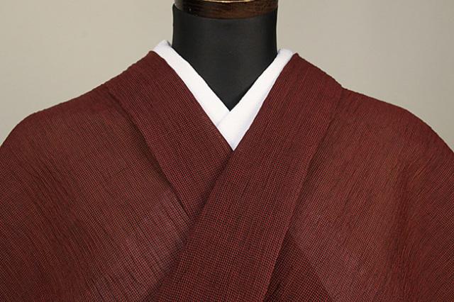 夏着物 小千谷ちぢみ 杉山織物  楊柳 オーダー仕立て付き 赤