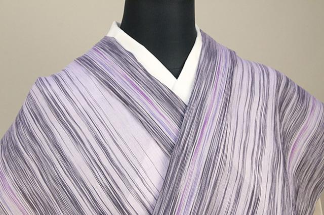 夏着物 小千谷ちぢみ 杉山織物  楊柳 オーダー仕立て付き 乱絣 紫×黒