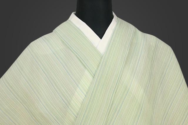 夏着物 小千谷ちぢみ 吉新織物  楊柳 オーダー仕立て付き ストライプ 緑青黄灰生成り