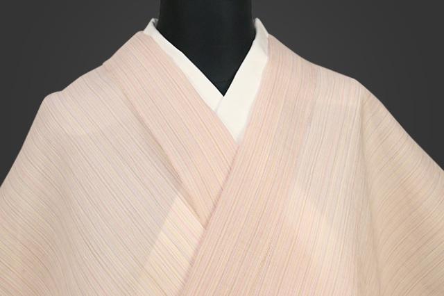 夏着物 小千谷ちぢみ 吉新織物  楊柳 オーダー仕立て付き ストライプ ピンク