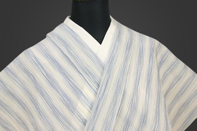 夏着物 小千谷ちぢみ 杉山織物  楊柳 オーダー仕立て付き ストライプ 青