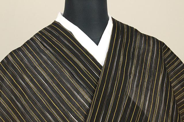 夏着物 小千谷ちぢみ 杉山織物  楊柳 オーダー仕立て付き ストライプ 黒×黄