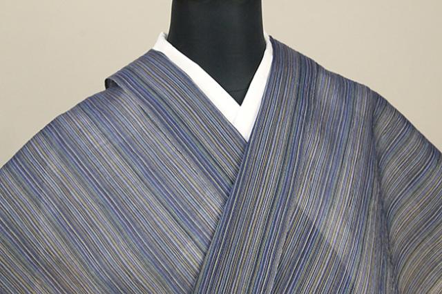 夏着物 小千谷ちぢみ 吉新織物  楊柳 オーダー仕立て付き ストライプ 青×黄