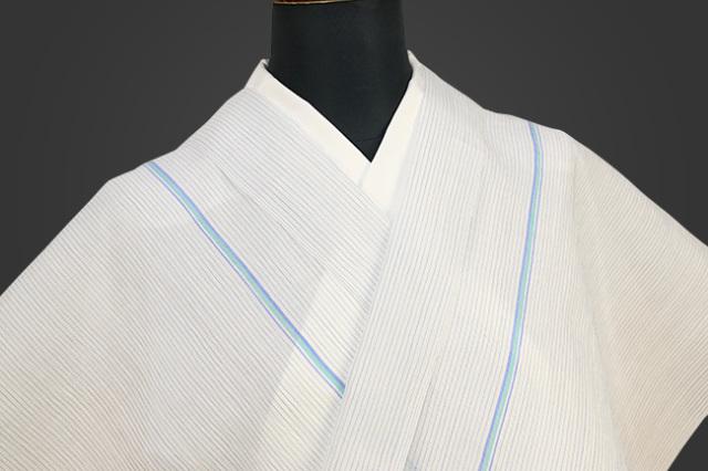 夏着物 小千谷ちぢみ 吉新織物  楊柳 オーダー仕立て付き 白 青緑ライン