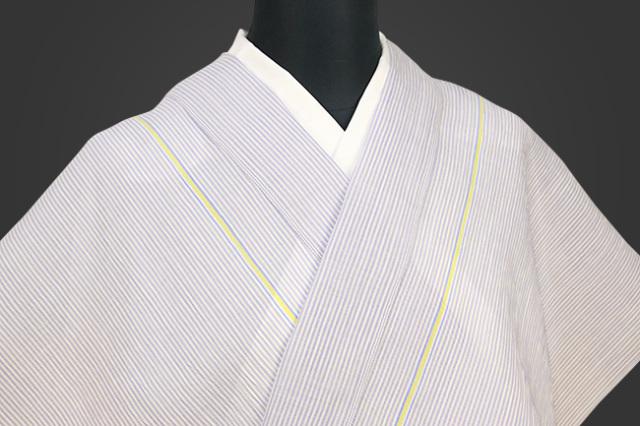 夏着物 小千谷ちぢみ 吉新織物  楊柳 オーダー仕立て付き 薄紫 黄青ライン