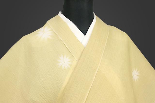 夏着物 小千谷ちぢみ 絞り 吉新織物  楊柳 オーダー仕立て付き 黄 花びら