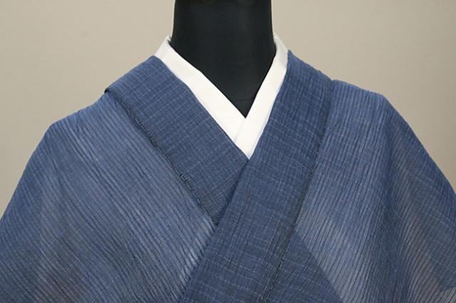 夏着物 小千谷ちぢみ キングサイズ 幅広 吉新織物  楊柳 オーダー仕立て付き 青