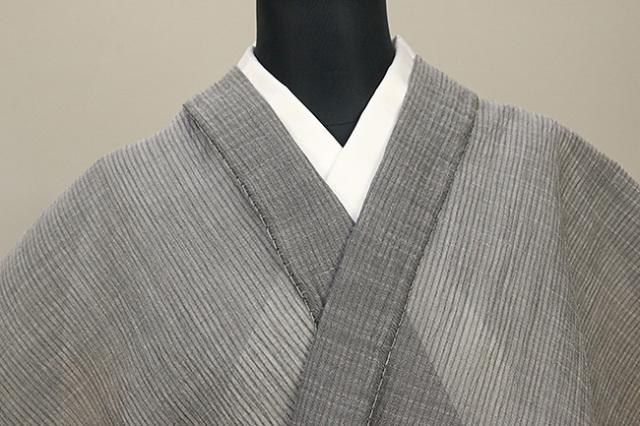 夏着物 小千谷ちぢみ キングサイズ 幅広 吉新織物  楊柳 オーダー仕立て付き 灰