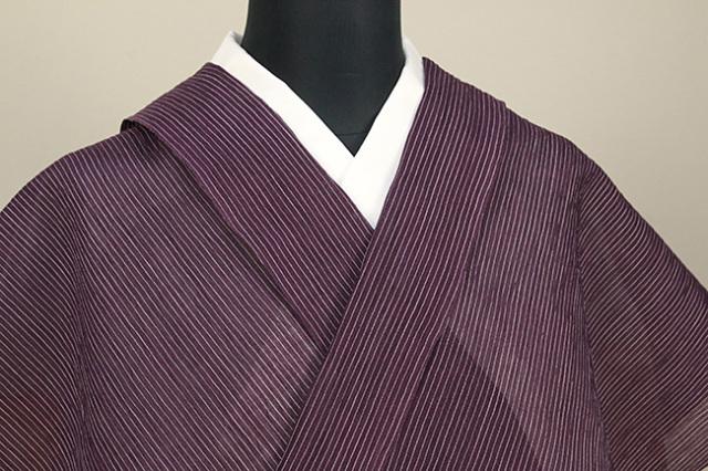 夏着物 小千谷ちぢみ 杉山織物  楊柳 オーダー仕立て付き ストライプ  赤紫