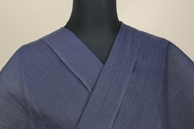 夏着物 小千谷ちぢみ 吉新織物 楊柳 オーダー仕立て付き 網代 紺