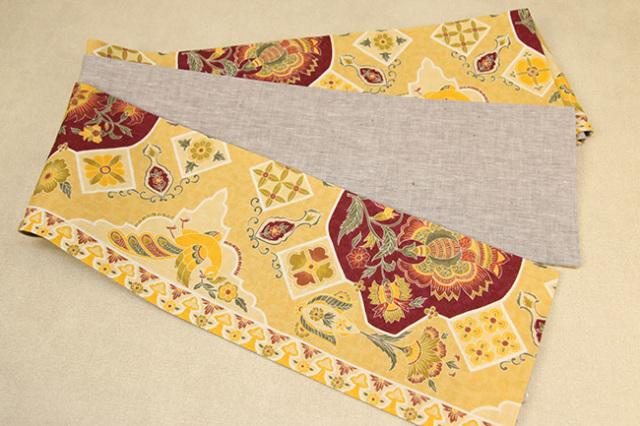近江の麻 麻100% 更紗風 型染め かがり仕立付 黄