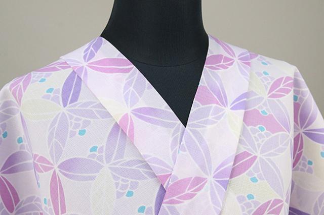 夏着物 オーダー仕立て付き 東レ セオα 花柄 パターン柄 紫