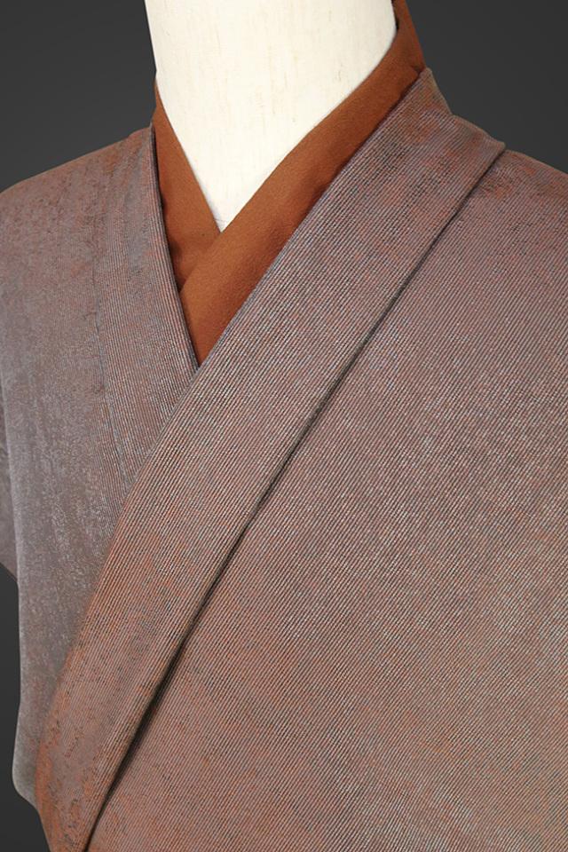 【受注生産品】柴田織物 正絹お召し着尺 オーダー仕立て付 LandScape 錆 こげ茶