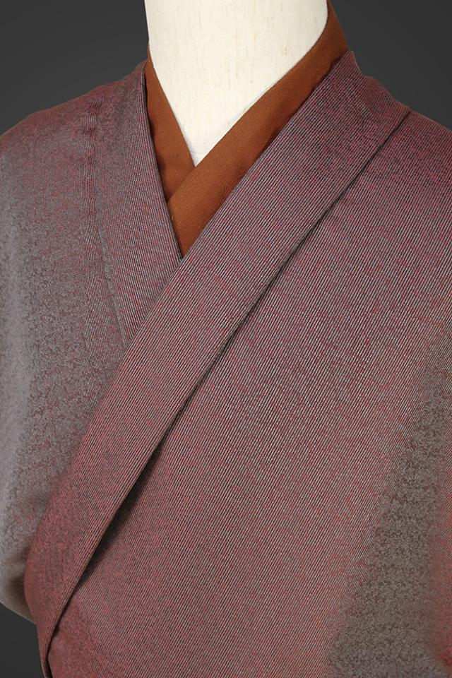 【受注生産品】柴田織物 正絹お召し着尺 オーダー仕立て付 LandScape カーペット 赤