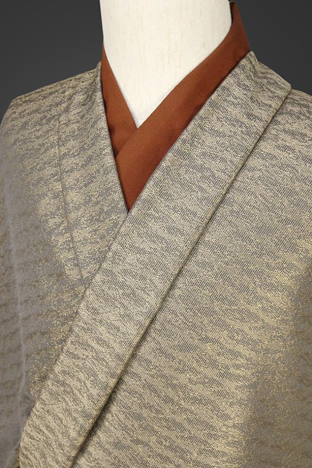 柴田織物 正絹お召し着尺 オーダー仕立て付 先染 LandScape ラフロープ カラシ