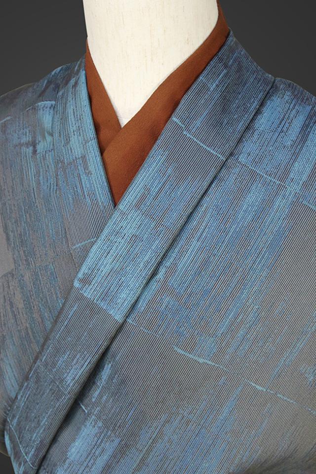 柴田織物 正絹お召し着尺 オーダー仕立て付 LandScape トタン ブルー