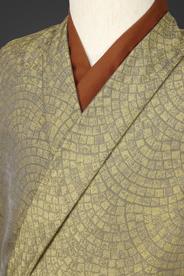 【受注生産品】柴田織物 正絹お召し着尺 オーダー仕立て付 LandScape 石畳 ゴールド