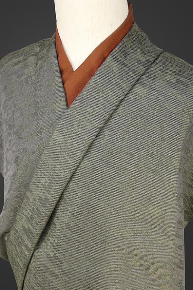 【受注生産品】柴田織物 正絹お召し着尺 オーダー仕立て付 LandScape レンガ スモーキーグリーン