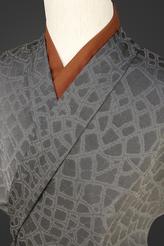 【受注生産品】柴田織物 正絹お召し着尺 オーダー仕立て付 LandScape マーブル ダークグレー