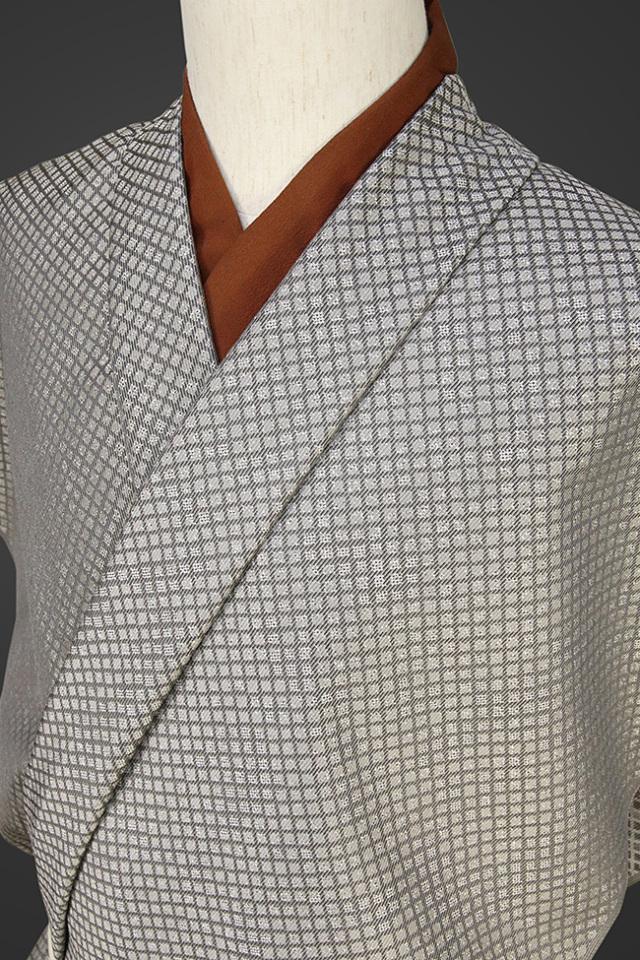 【受注生産品】柴田織物 正絹お召し着尺 オーダー仕立て付 LandScape キャッスルウォール シルバー