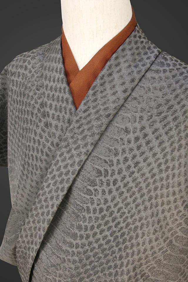 柴田織物 正絹お召し着尺 オーダー仕立て付 NatureArt スネーク グレー