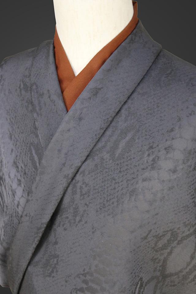 柴田織物 正絹お召し着尺 オーダー仕立て付 後染 ダイヤモンドパイソン チャコール
