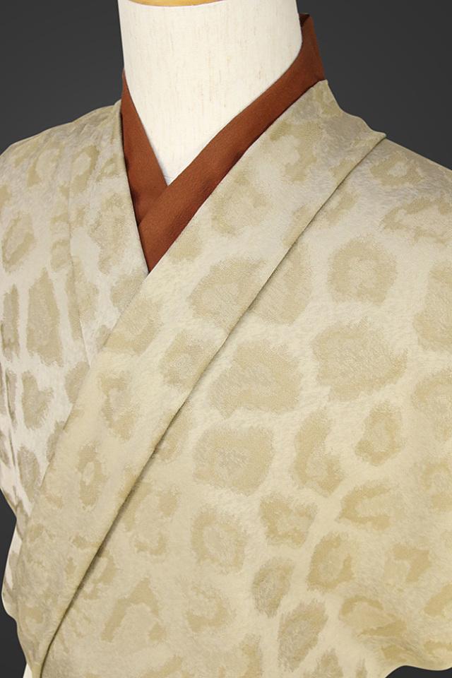 【受注生産品】柴田織物 正絹お召し着尺 オーダー仕立て付 後染め パンサー ベージュ