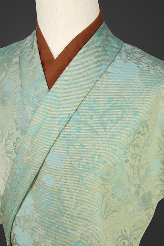 【受注生産品】柴田織物 正絹お召し着尺 オーダー仕立て付 先染ちりめん ボタニカル1 グリーン