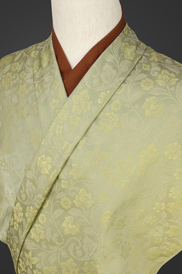 【受注生産品】柴田織物 正絹お召し着尺 オーダー仕立て付 先染ちりめん ボタニカル2 イエロー