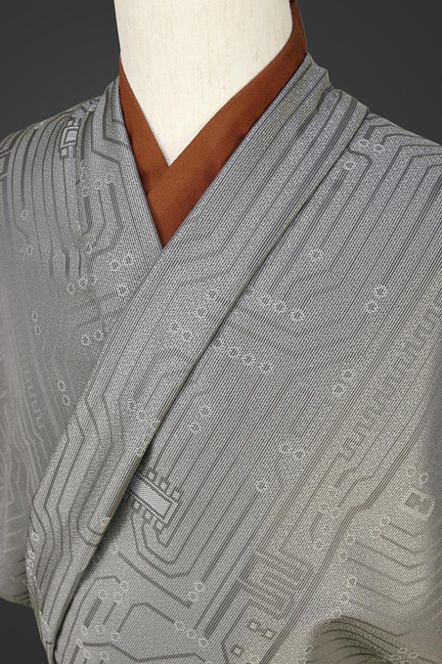【受注生産品】柴田織物 正絹お召し着尺 オーダー仕立て付 先染ちりめん サーキット グレー