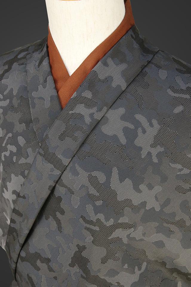 柴田織物 正絹お召し着尺 オーダー仕立て付 先染ちりめん 迷彩 ブラックブルー