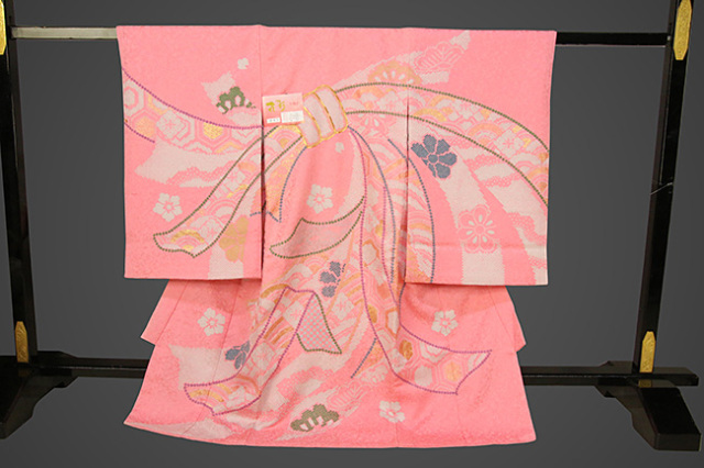女児着物 お宮参り祝い着 ピンク地 束ね熨斗柄 のしめ初着 産着