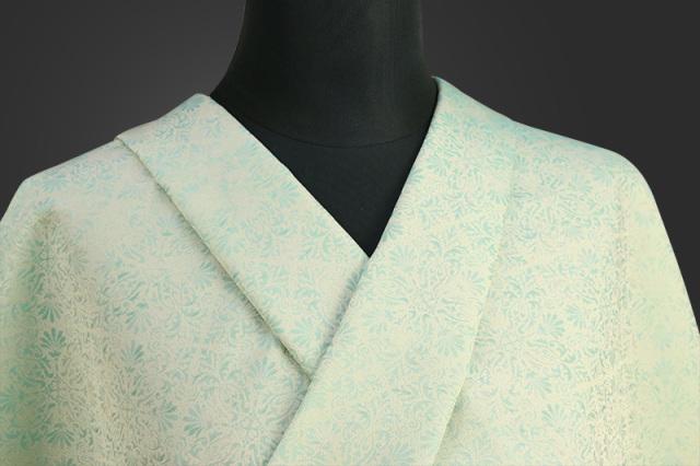 ワタマサ 洗える正絹お召し着尺 三重織 オーダー仕立て付 A_01_薄黄×薄緑