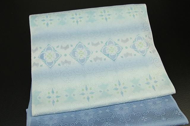 ワタマサ製 九寸名古屋帯 ダマスク柄 絹 水色