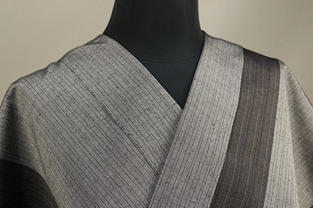 米沢紬 竹股織物 縞 灰 反物価格