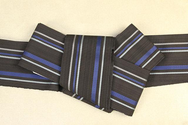 近賢織物 正絹 角帯 宝来織 お仕立て付き 青灰ストライプ 黒